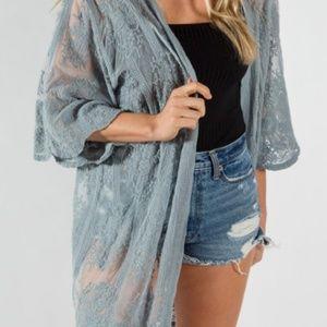 Tops - Blue Lace Kimono
